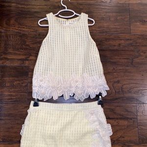 Pale Yellow and white skirt and top set